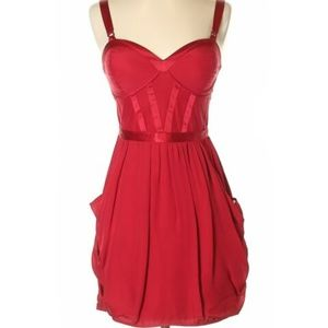 Madison Marcus Red Silk Corset Cut Out Dress, S